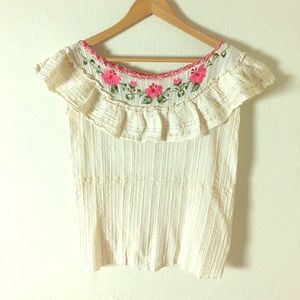 Tops - Vintage Cream Embroidered Floral Blouse with Gold